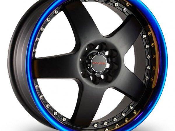 """17"""" DARE LS Wheels - Black / Blaze Lip - VW / Audi / MINI - 4x100"""