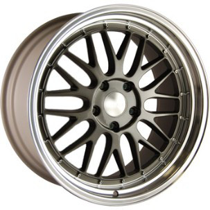 "18"" Staggered BBS LM Style Wheels - Gun Metal / Polished Lip - VW / Audi - 5x100"