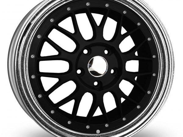 "18"" BBS LM Style Wheels - Black / Full Silver Rim  - VW / Audi - 5x100"