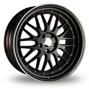 "18"" BBS LM Style Wheels - Black / Silver Edge Lip  - VW / Audi - 5x100"