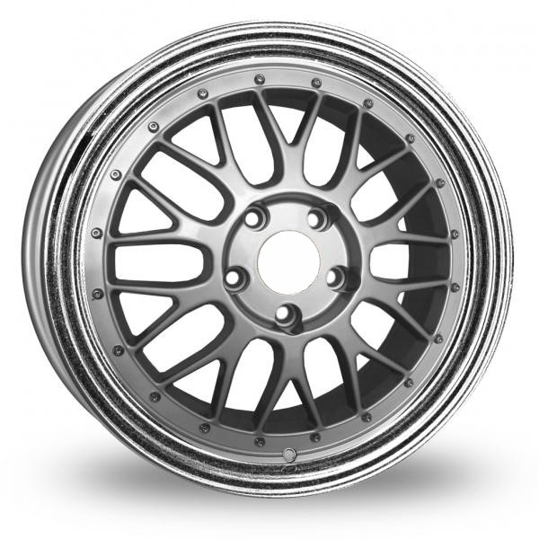 "18"" Staggered BBS LM Style Wheels - Silver / Polished Lip - VW / Audi - 5x100"