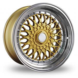 "15"" Staggered BBS RS Style Wheels - Gold / Machine Lip - VW / Audi / MINI - 4x100"