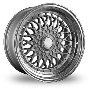 "15"" Staggered BBS RS Style Wheels - Silver / Machine Lip - VW / Audi / MINI - 4x100"
