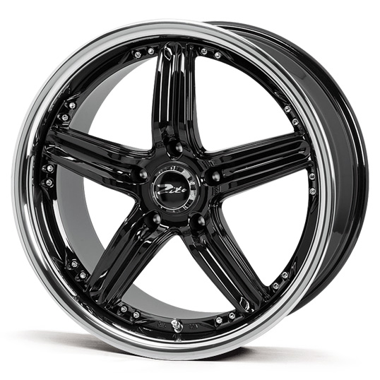 "18"" Staggered ZITO Malibu - Black / Inox Lip - VW / Audi / Mercedes - 5x112"