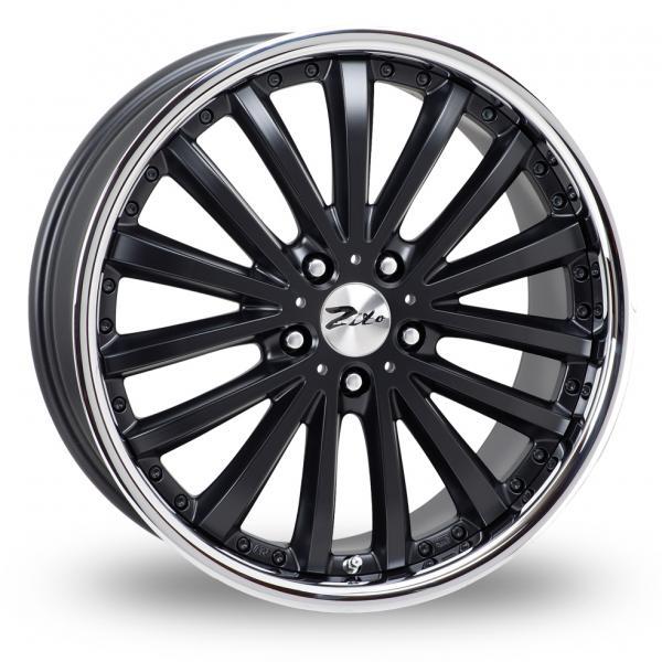 "18"" ZITO Orlando Wheels - Matte Black / Inox Lip - VW / Audi / Mercedes - 5x112"