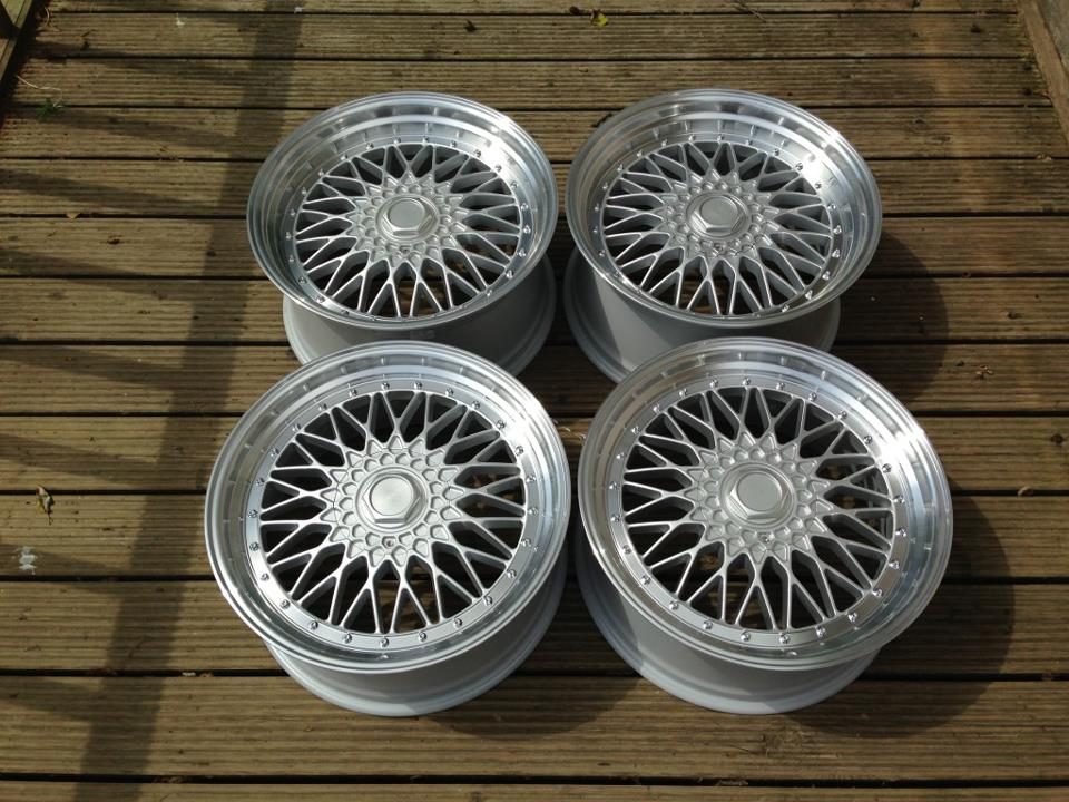 "19"" Staggered BBS RS Style Wheels - Silver / Polished Rim - VW / Audi - 5x100"
