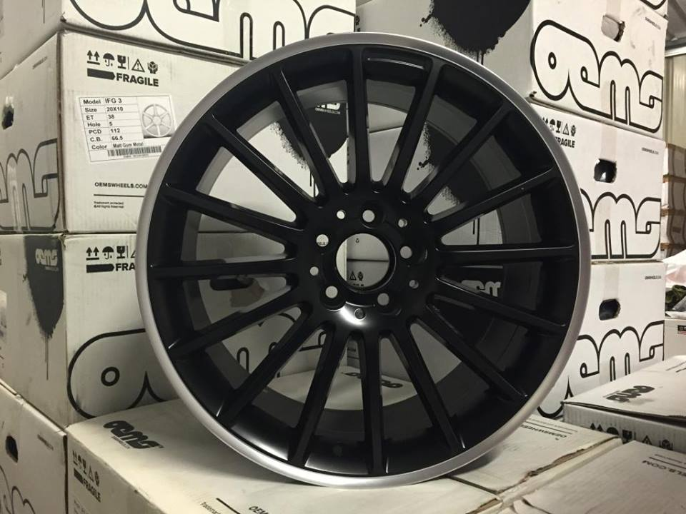 "19"" Staggered C63 AMG Style Wheels - Matt Black / Machined Lip - VW / Audi / Mercedes - 5x112"