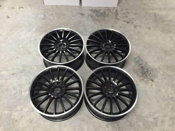 "19"" Staggered C63 AMG Style Wheels - Matt Black / Machined Lip - VW / Audi / Mercedes - 5x112"