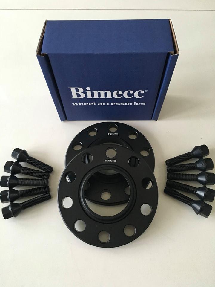 2 x 12mm BIMECC Black Wheel Spacers - Black Bolts