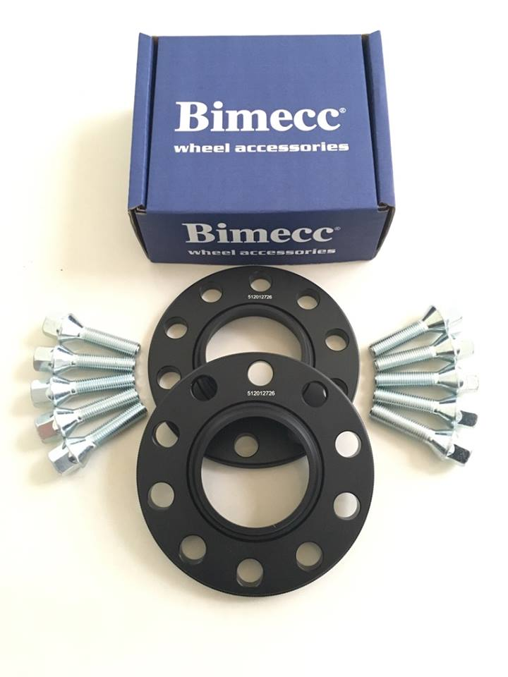 2 x 12mm BIMECC Black Wheel Spacers - Silver Bolts