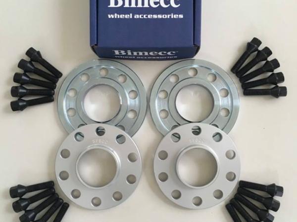 2 x 10mm + 2 x 15mm BIMECC Wheel Spacers - Black Bolts - 5 x 112 / 66.6