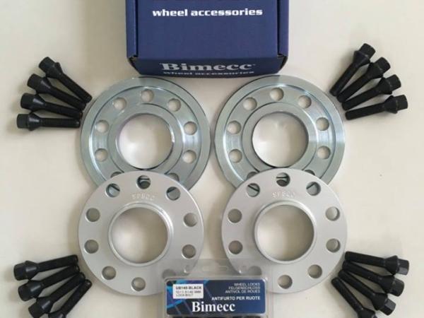 2 x 10mm + 2 x 15mm BIMECC Wheel Spacers - Black Bolts & Locks - 5 x 112 / 66.6