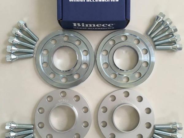 2 x 10mm + 2 x 15mm BIMECC Wheel Spacers - Silver Bolts - 5 x 112 / 66.6