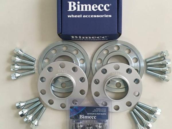 2 x 10mm + 2 x 15mm BIMECC Steel Wheel Spacers - Silver Bolts & Locks - 5 x 112 / 66.6