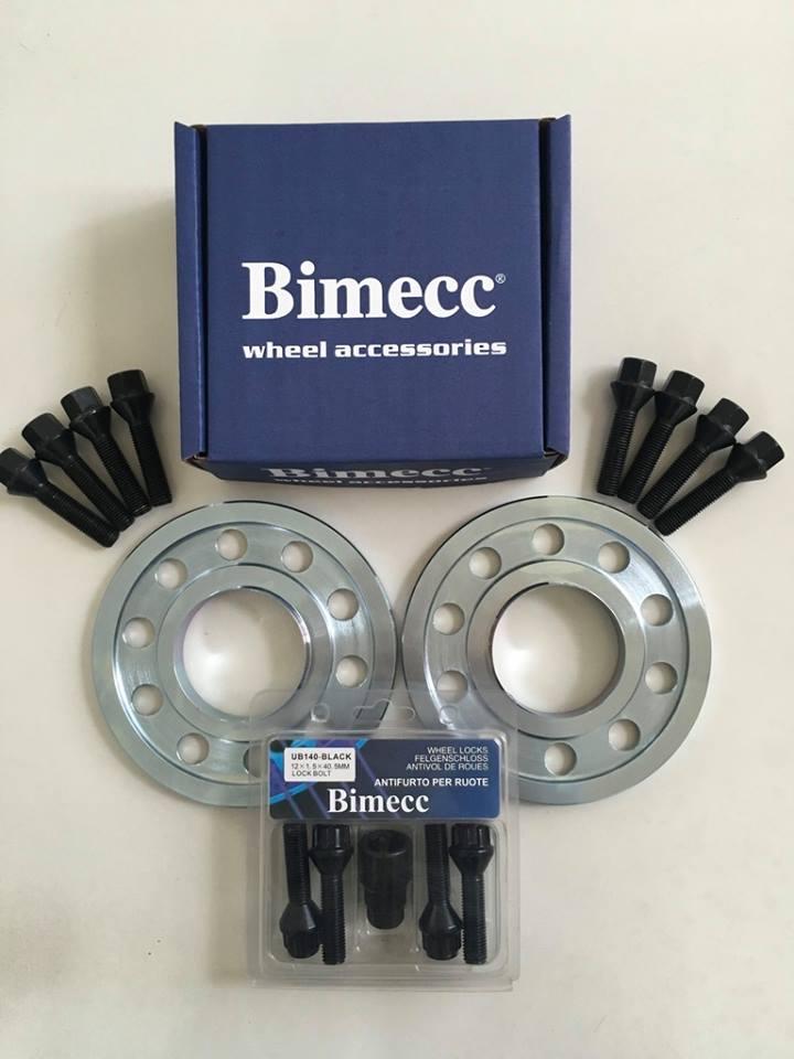 2 x 10mm BIMECC Steel Wheel Spacers - Black Bolts & Locks - 5 x 112 / 66.6