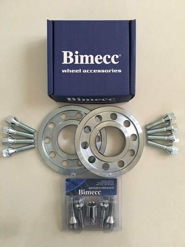 2 x 10mm BIMECC Steel Wheel Spacers - Silver Bolts & Locks - 5 x 112 / 66.6