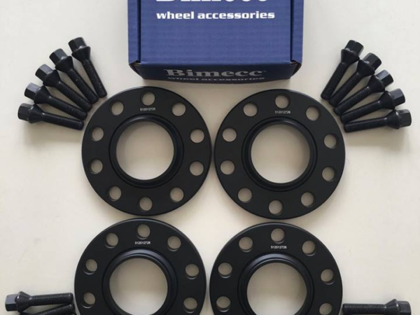 4 x 12mm BIMECC Black Wheel Spacers - Black Bolts