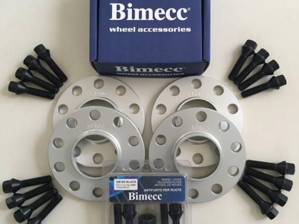 4 x 12mm BIMECC Silver Wheel Spacers - Black Bolts & Locks