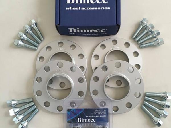 4 x 12mm BIMECC Silver Wheel Spacers - Silver Bolts & Locks