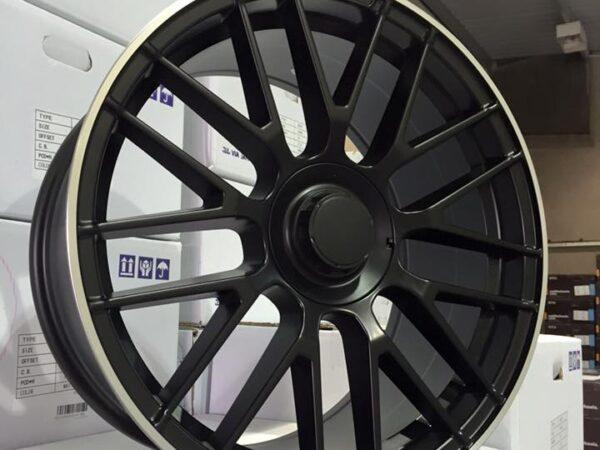"19"" Staggered 2016 C63 AMG S Style Wheels - Satin Black / Machined Lip - VW / Audi / Mercedes - 5x112"