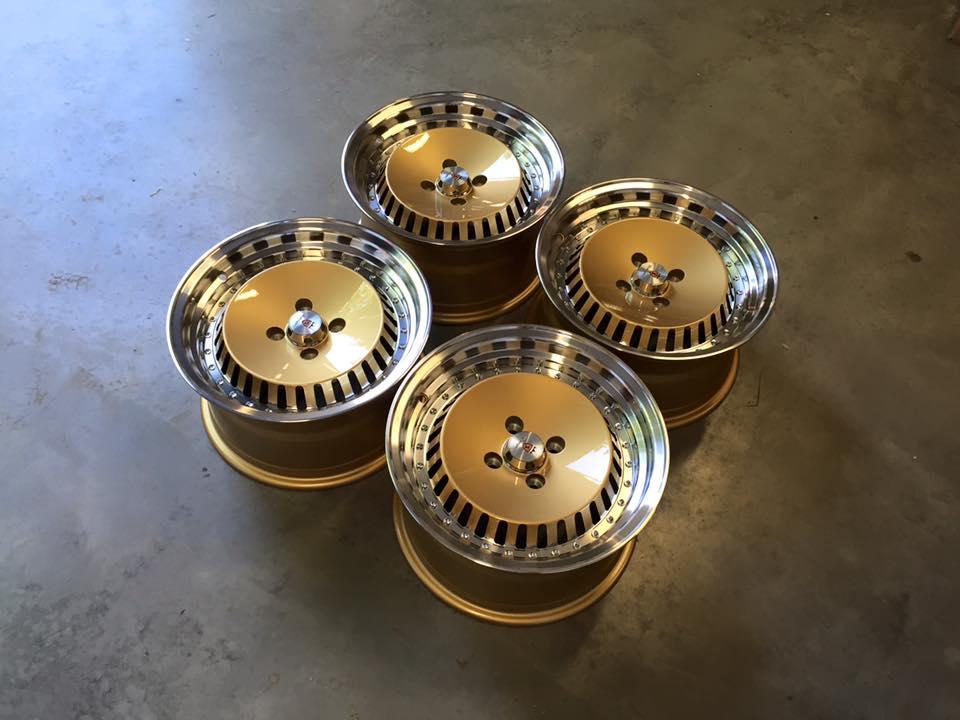 "15"" Stuttgart ST4 Wheels - Gold Polished - VW / Audi - 4x100"