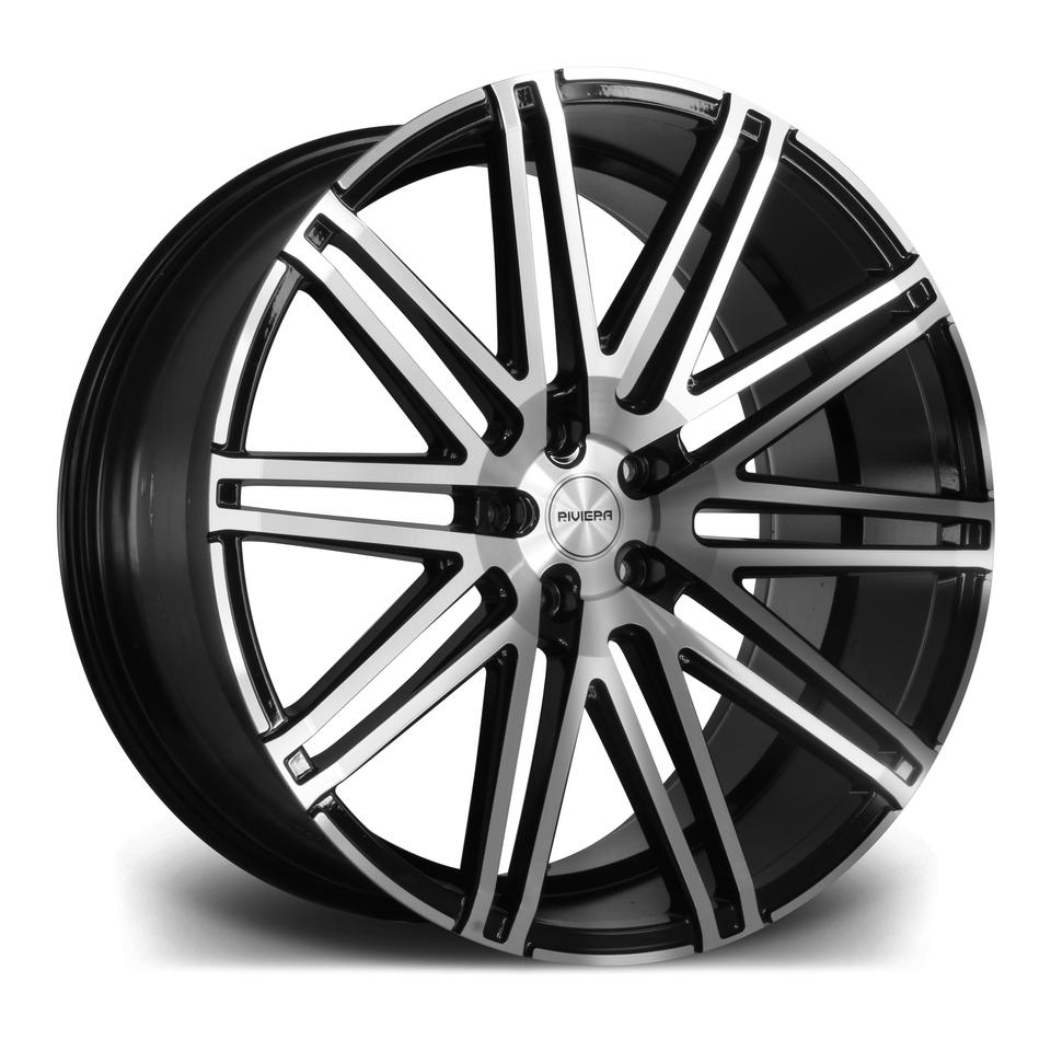 """22"""" RIVIERA RV120 Wheels - Black Polished - 5x112"""