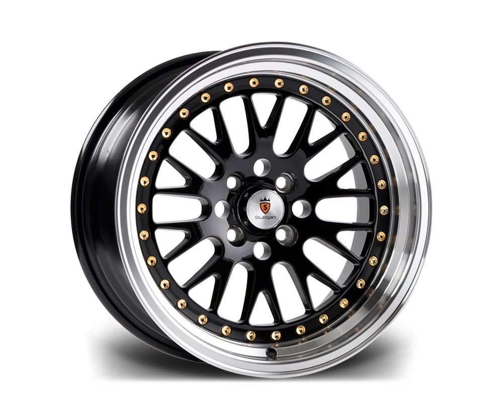 "15"" STUTTGART ST5 Wheels - Black Polished - VW / Audi - 4x100"