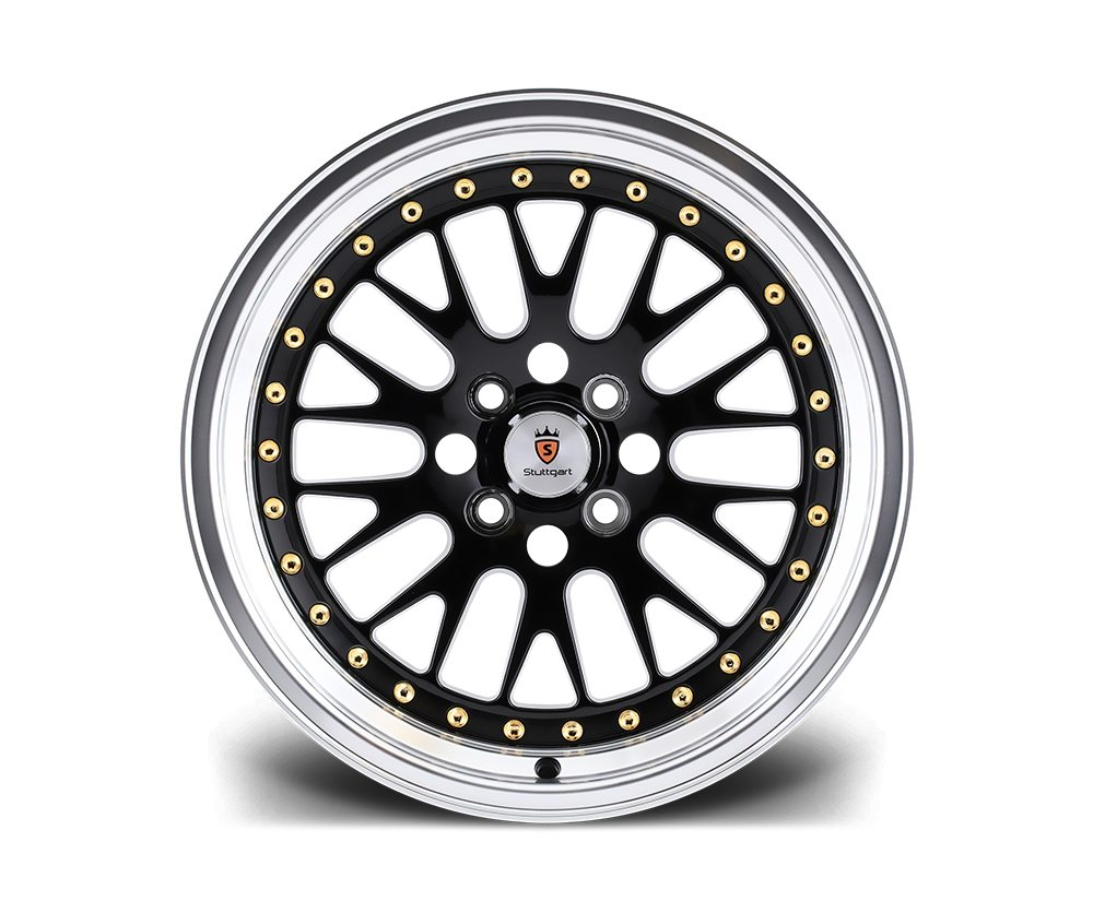 "16"" STUTTGART ST5 Wheels - Black Polished - VW / Audi - 4x100"