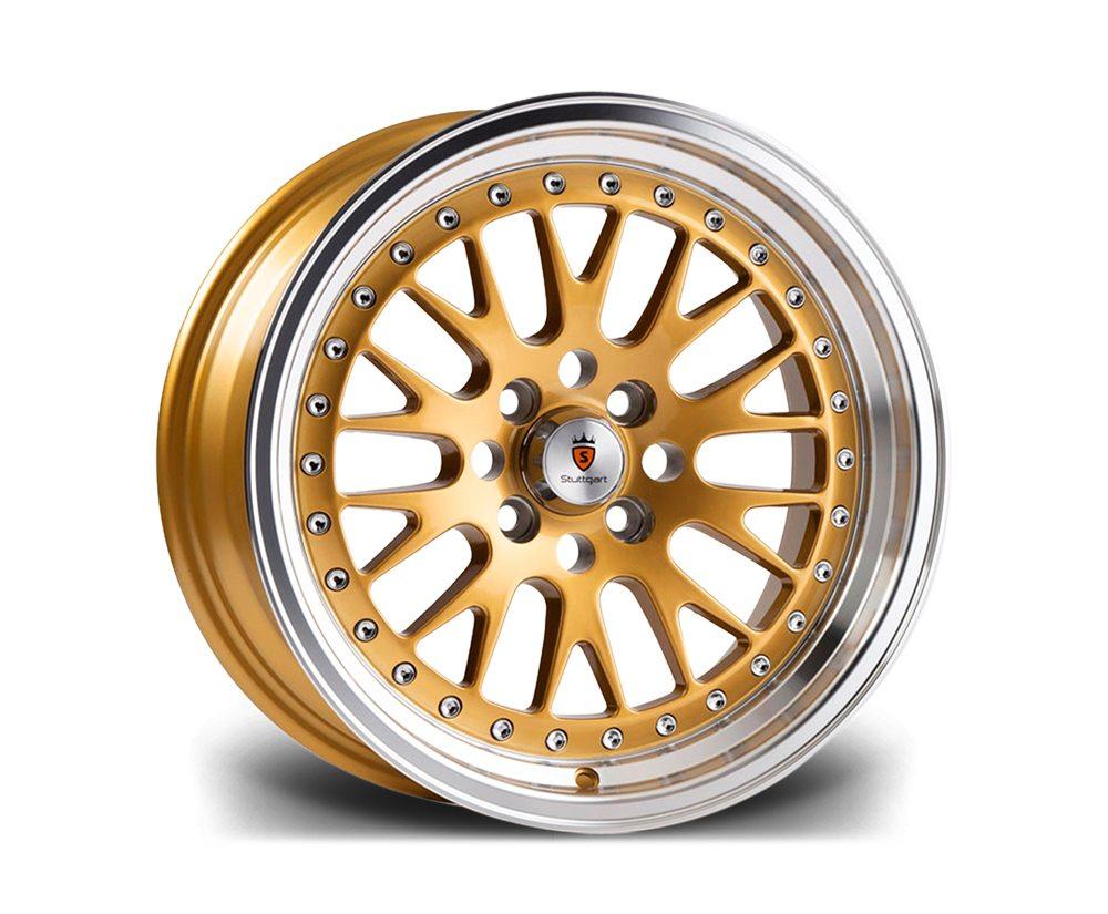 "16"" STUTTGART ST5 Wheels - Gold Polished - VW / Audi - 4x100"