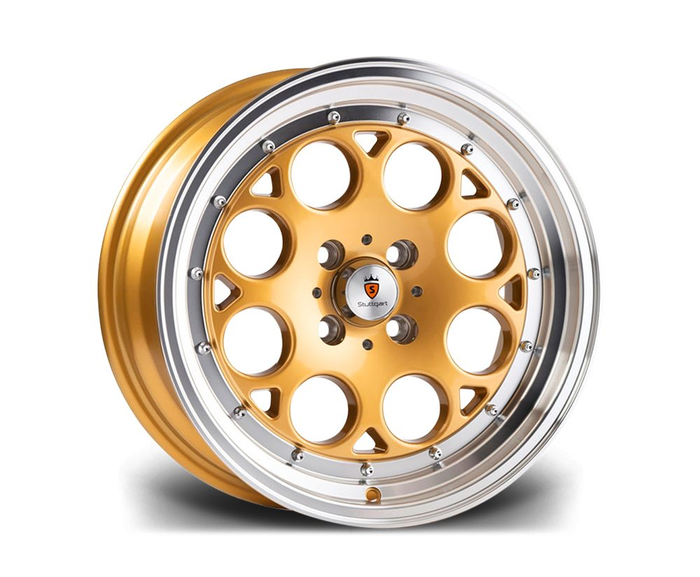 "15"" STUTTGART ST6 Wheels - Gold Polished - VW / Audi - 4x100"