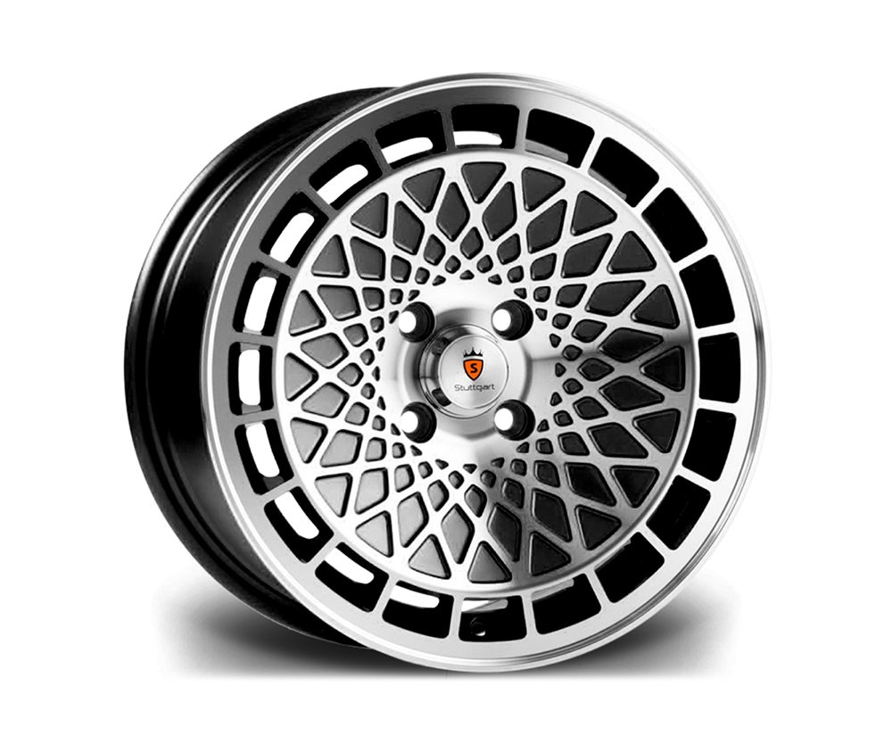 "15"" STUTTGART ST7 Wheels - Black Polished - VW / Audi - 4x100"