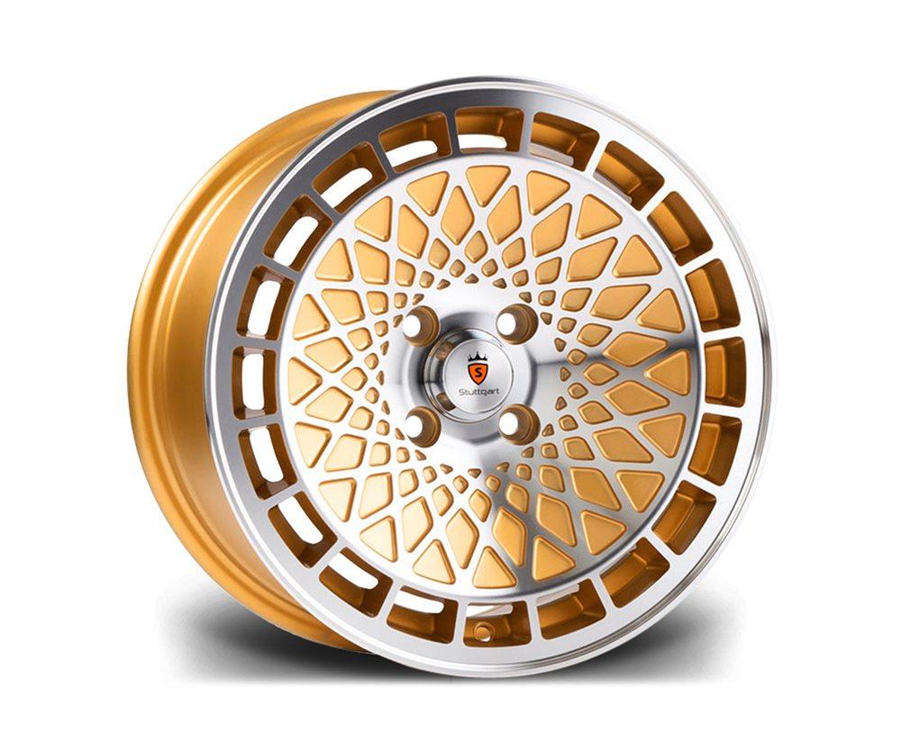 "15"" STUTTGART ST7 Wheels - Gold Polished - VW / Audi - 4x100"