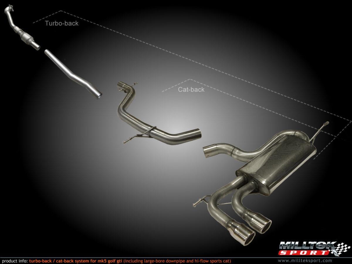 MILLTEK Cat Back Exhaust System SSXVW279 Volkswagen Golf Mk5 GTi 2.0T FSI