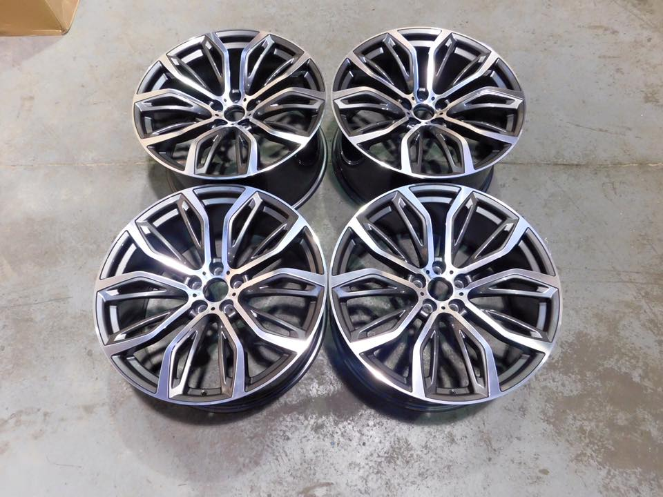 "22"" Staggered X5 X6 375M Style Wheels - Gun Metal Machined - E70 E71 F15 F16"