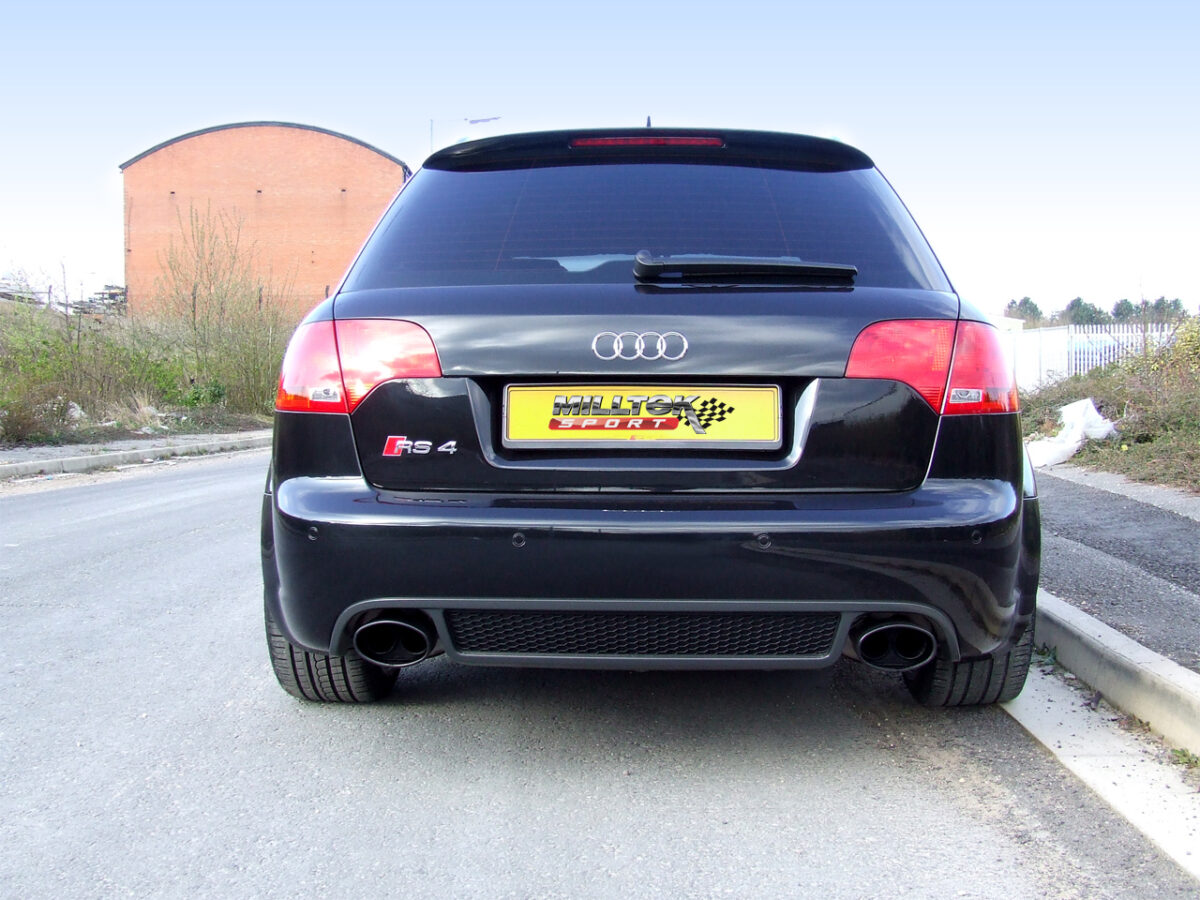 MILLTEK Cat Back Exhaust System SSXAU062BLK Audi RS4 B7 4.2 V8 Saloon Avant and Cabriolet