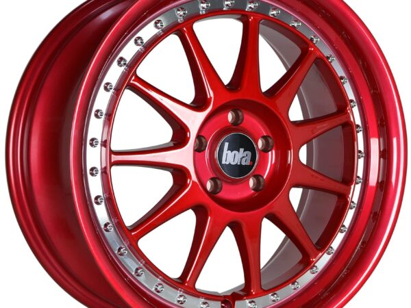 """18"""" BOLA B4 Wheels - Candy Red with Silver Rivets - VW / Audi / Mercedes - 5x112"""