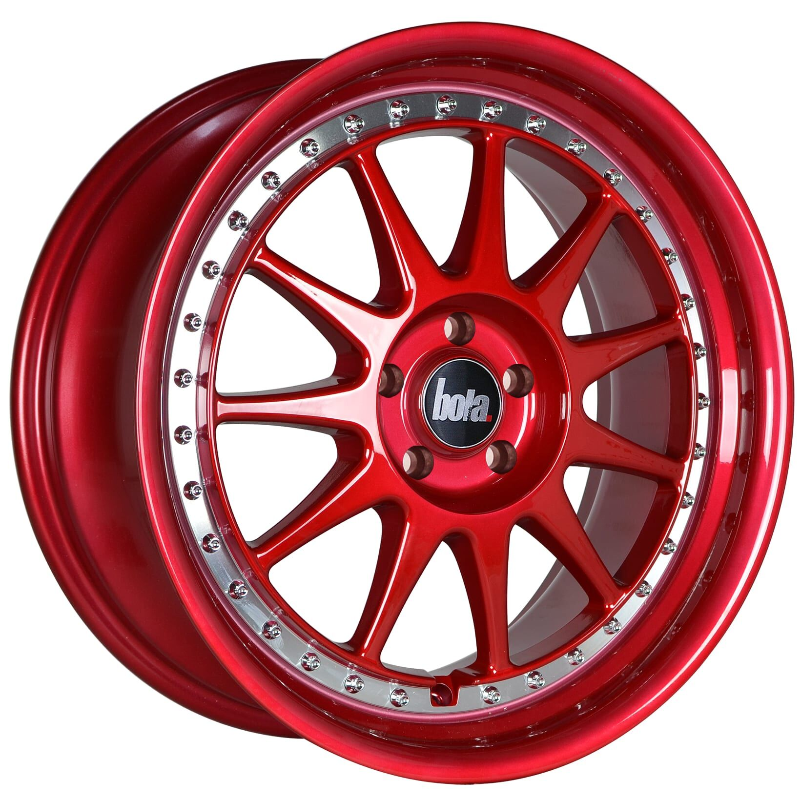 18 Bola B4 Wheels Candy Red With Silver Rivets All Bmw Models Cmwheels