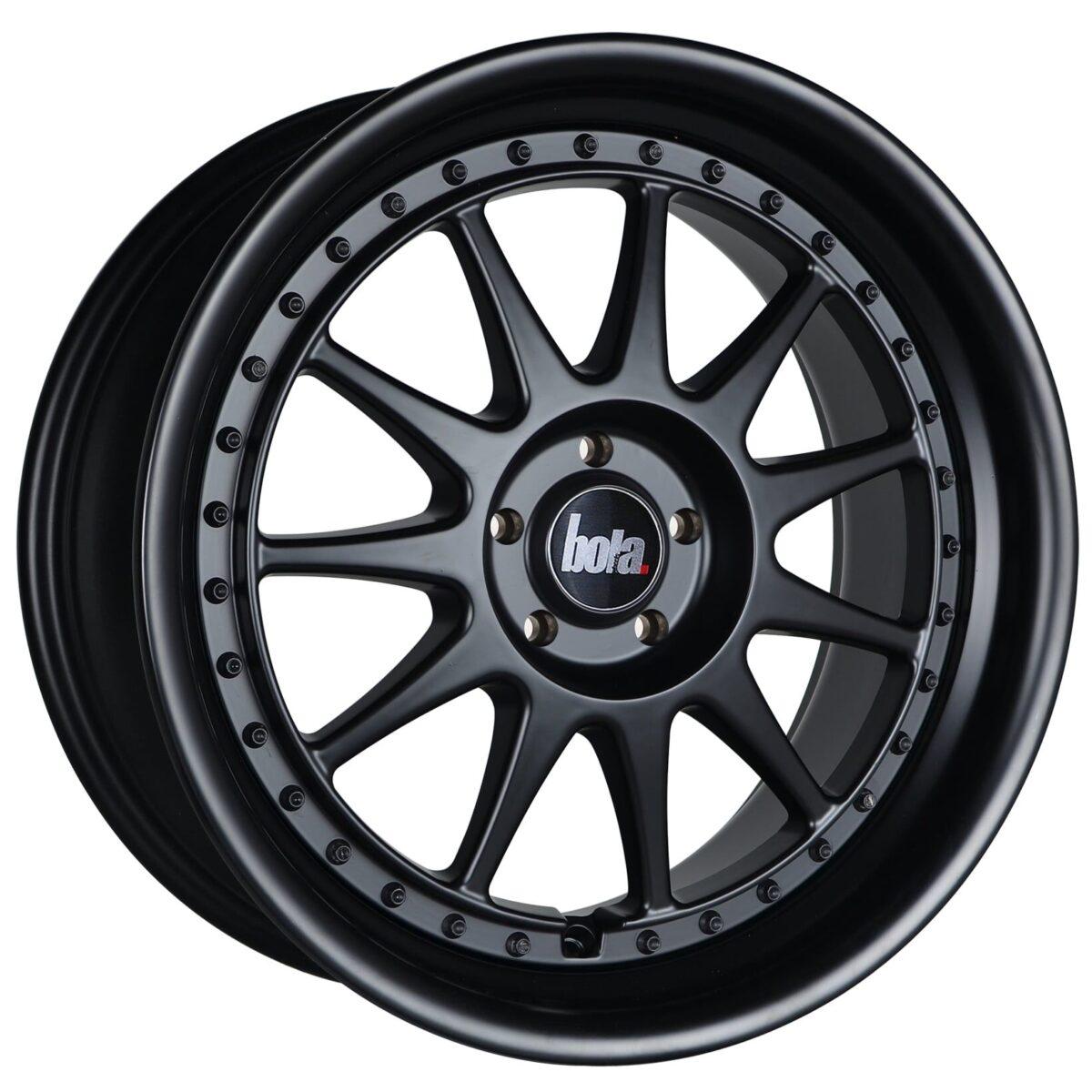 "18"" BOLA B4 Wheels - Matt Black with Black Rivets - VW / Audi / Mercedes - 5x112"