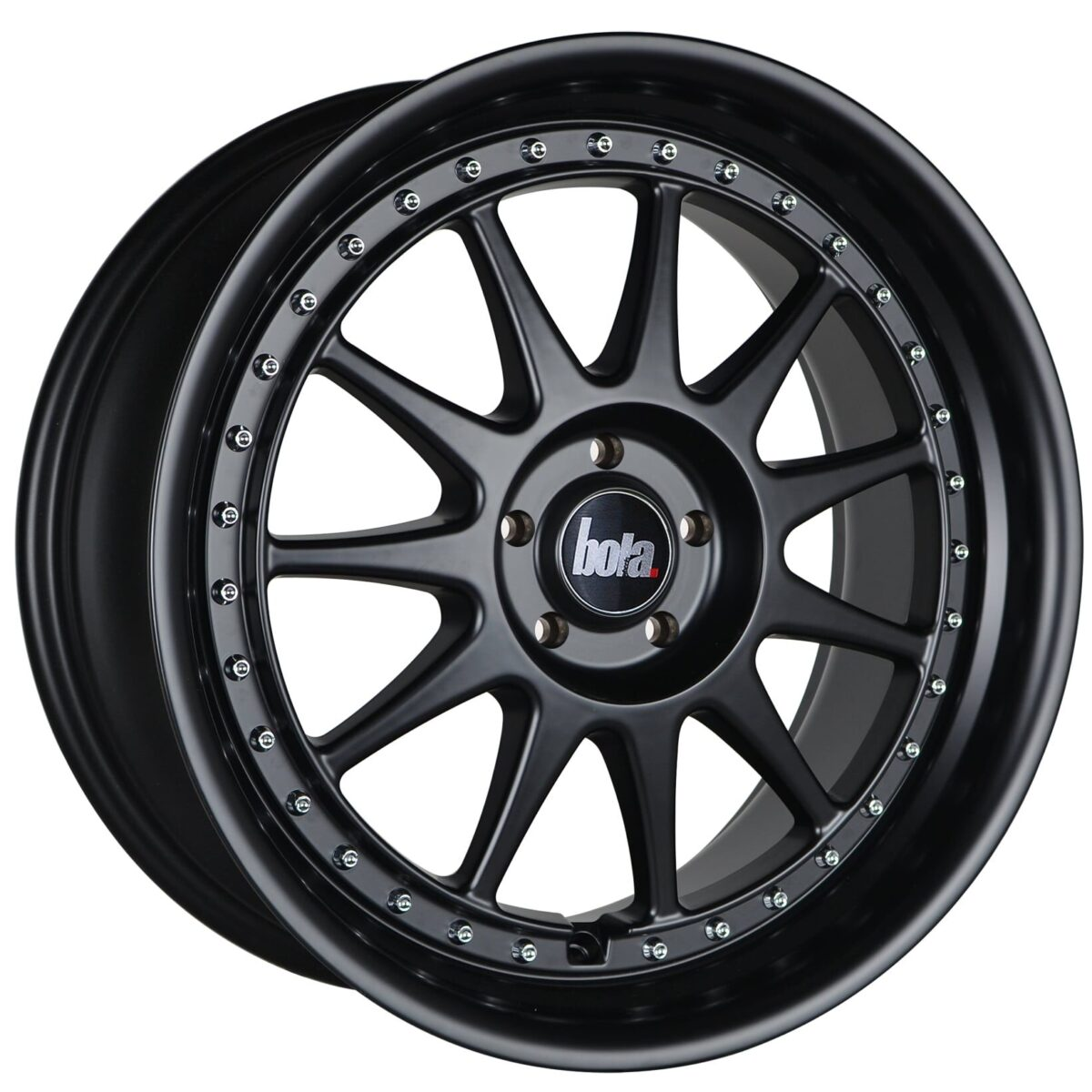 "18"" BOLA B4 Wheels - Matt Black with Silver Rivets - VW / Audi / Mercedes - 5x112"