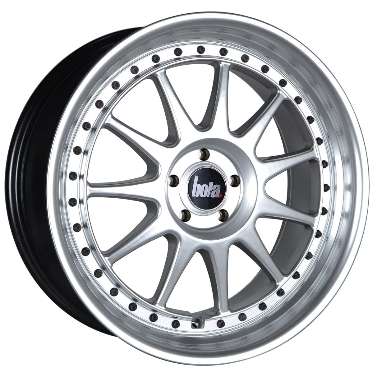"18"" BOLA B4 Wheels - Hyper Silver with Black Rivets - VW / Audi / Mercedes - 5x112"