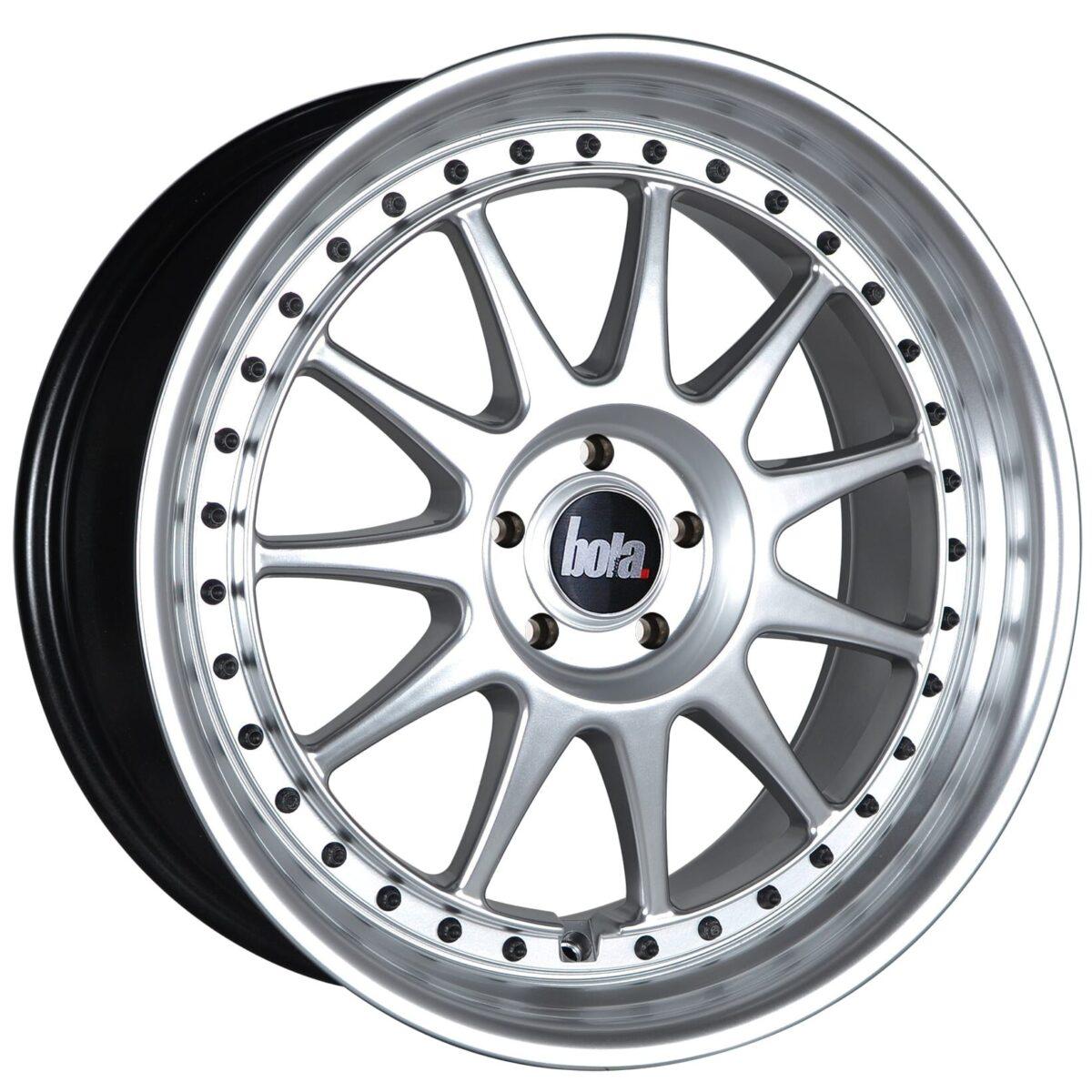 "18"" BOLA B4 Wheels - Hyper Silver with Black Rivets - All BMW Models"