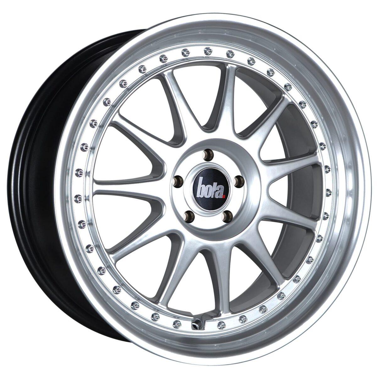 "18"" BOLA B4 Wheels - Hyper Silver with Silver Rivets - VW / Audi / Mercedes - 5x112"