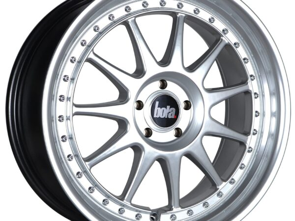 "18"" BOLA B4 Wheels - Hyper Silver with Silver Rivets - VW / Audi / Mercedes - 5x112"